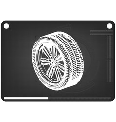 3d model of wheels on a black vector image