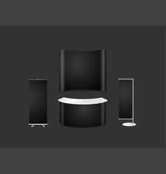 Advertising exhibition display design with black vector
