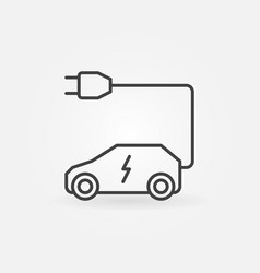 all-electric car with plug outline icon vector image