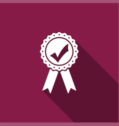 Approved or certified medal with ribbons icon vector