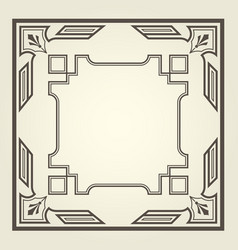 Art deco style square frame with stright lines vector