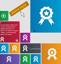 Award medal of honor icon sign metro style buttons vector
