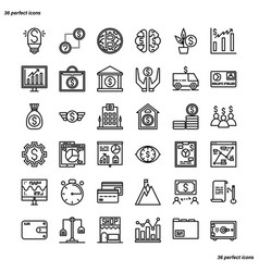 Banking and financial outline icons perfect pixel vector