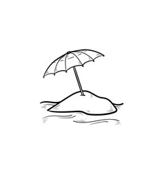 Beach umbrella hand drawn outline doodle icon vector