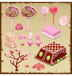 Big pink set of candies and different sweets vector image
