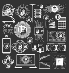 bitcoin blockchain cryptocurrency digital money vector image