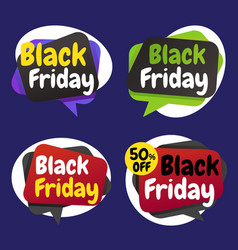black friday shopping day origami banner label vector image