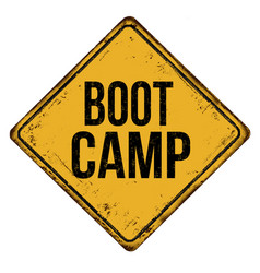 boot camp vintage rusty metal sign vector image