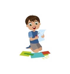 Boy Cutting The Application Details vector