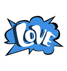 bright blue speech bubble love colorful vector image