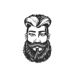 brutal man with beard and stylish haircut isolated vector image