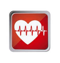 button with heart vital sign with background red vector image