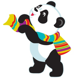 cartoon panda bear wearing scarf vector image