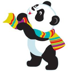 Cartoon panda bear wearing scarf vector