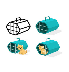 cat cage icons in flat style art vector image