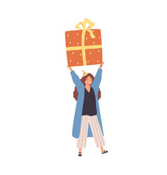 cheerful woman carrying huge present box overhead vector image