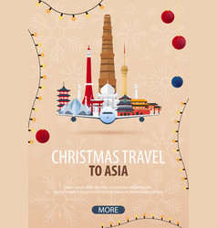 Christmas travel to asia winter travel vector