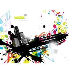 city with colored tunes vector image