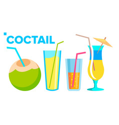 coctail icons set summer alcoholic drink vector image