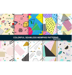 collection abstract seamless patterns retro vector image