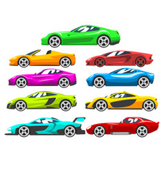 Collection of sports racing cars colorful vector