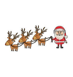 Color crayon stripe cartoon of three reindeers and vector