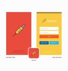 Company syringe splash screen and login page vector