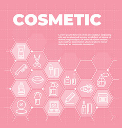 cosmetic pink background with icons and signs vector image
