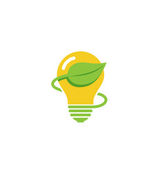 creative green bulb lamp energy logo vector image