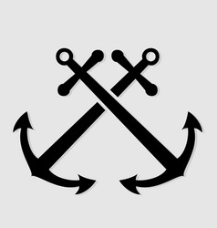 crossed nautical anchors icon vector image