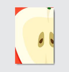 Cut apple template card slice fresh fruit poster vector