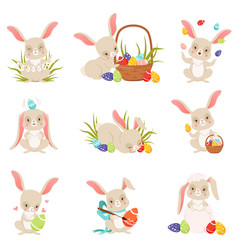 cute cartoon bunnies holding and eggs set funny vector image