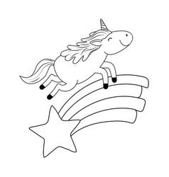 cute fairytale unicorn in rainbow with star vector image