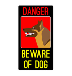 danger beware of dog sign with shepherd dog vector image