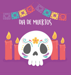 day dead skull flower candles pennants vector image