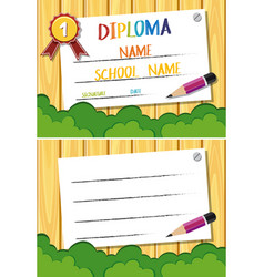 Diploma and card template with pencil and bush vector