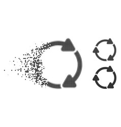 Disappearing dotted halftone rotate cw icon vector
