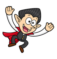 Dracula character jumping halloween day isolated vector