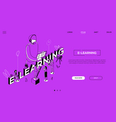 e-learning landing page template vector image