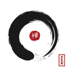 Enso zen circle style sumi e design black vector
