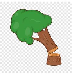Felled tree icon cartoon style vector
