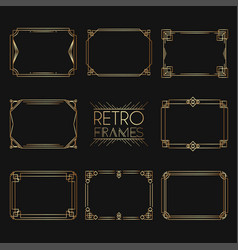 Gold retro frames style 1920s collection of vector