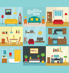 Interior banner set flat style vector