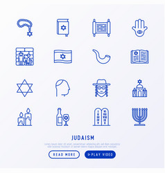 Judaism thin line icons set vector