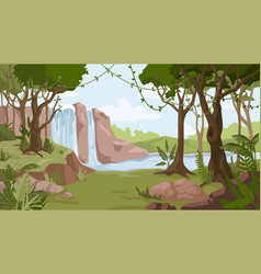 jungle landscape waterfall river streams forest vector image