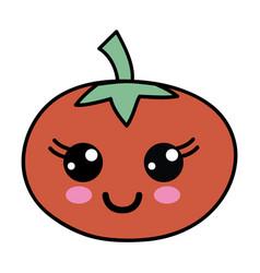 Kawaii cute happy tomato vegetable vector
