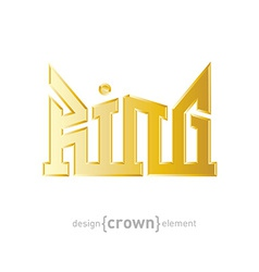 Luxury golden King Crown design element on white vector