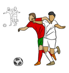 Male soccer palyers fighting for ball vector