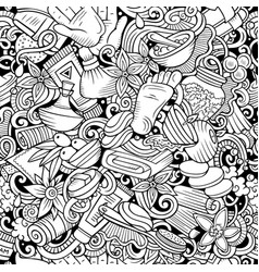 massage hand drawn doodles seamless pattern spa vector image
