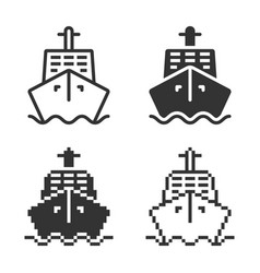 Monochromatic ship icon in different variants vector